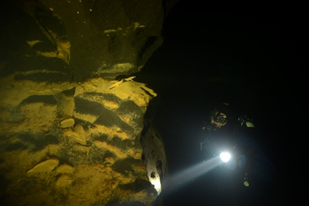 Cave diving 300 meter into the cave to monitor cave salamnder (Proteus anguinus) population in southern Europe. How far and deep would you go for conservation? (foto: Vedran Jalžić)